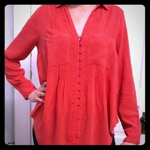 Red polka dot blouse by Maeve